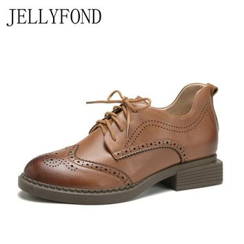 JELLYFOND Genuine Leather Designer Women Flats 2018 Spring Lace Up Carving British Style Brogue Oxfords Casual Shoes Woman