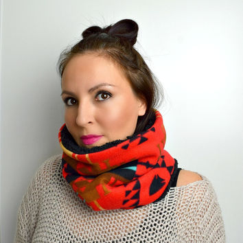 Tribal Scarf, Fleece Cowl, Cozy Neckwarmer, Winter Cowl, Womens Infinity Cowl, Reversible Scarf, Gift for Her