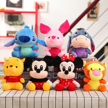 7pcs/Lot 20cm Mickey Mouse Doll Minnie Mouse Doll Cute Stitch Plush Toy Pig Tiger Donkey Bear Mini Dolls for Baby Small Gift