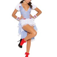 Kansas Cutie - 3 pc costume includes dress with layered  bustle, wrist cuffs and head piece  White/Blue Gingham
