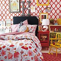 Kids' Bedding: Girls' Tiny Dancer Multi-colored Cotton Bedding in Girl Bedding | The Land of Nod