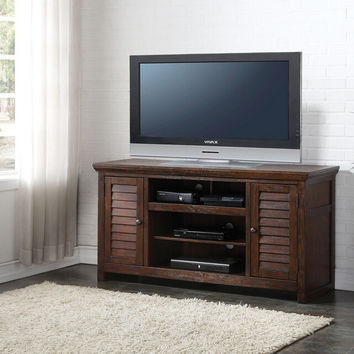 Acme 91350 Evrard dark oak finish wood tall tv stand cabinet