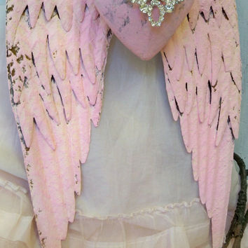 Metal angel wings pink rusty with rhinestone embellished heart shabby chic wall decor sculpture Anita Spero