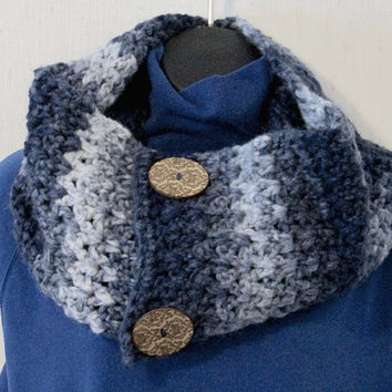 Button Infinity Scarf in Blues with Sparkle