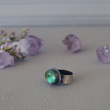 Green Royston Turquoise & Sterling Silver Ring / Thick Silver Ring / Boho Jewelry / Festival Style / Southwest Bohemian / Size 7.5 8