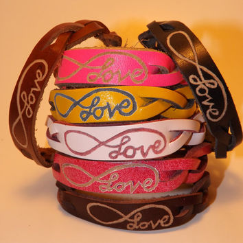 Leather Infinity Love Bracelet - Custom Engraved Braided Bracelets - Personalized Gift Idea