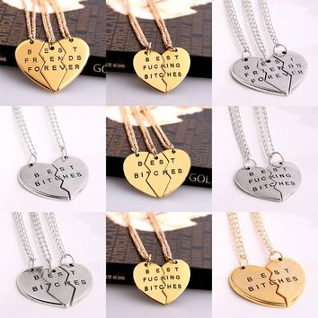 Best Bitches Friend Gifts Heart Broken Chain Pendant Necklace Charms Jewelry For Women's Men's BFF
