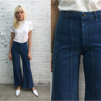 vintage 70s Landlubber jeans / high waist denim flares / high waisted wide leg jeans / 1970s bell bottoms / landlubber bellbottoms
