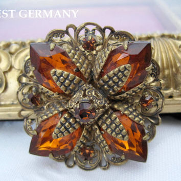 Vintage West Germany Topaz Rhinestone Brooch