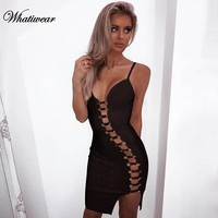 Whatiwear 2018 Spring Sexy Backless Double-breasted Mini dress Woman Sleeveless Strap Loose Hollow Out Lace Up Party Sling Dress