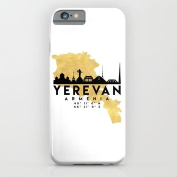 YEREVAN ARMENIA SILHOUETTE SKYLINE MAP ART iPhone & iPod Case by deificus Art