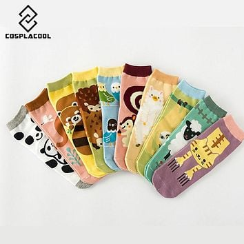 New Korean Kawaii Animal Series Socks Japanese Harajuku Cat Panda Hedgehog Cartoon Sock Cute Women Pure Cotton In Tube Socks
