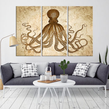 18617 - Octopus Wall Art- Octopus Canvas Print- Octopus Poster Print- Wall Art Octopus- Octopus Wall Decor