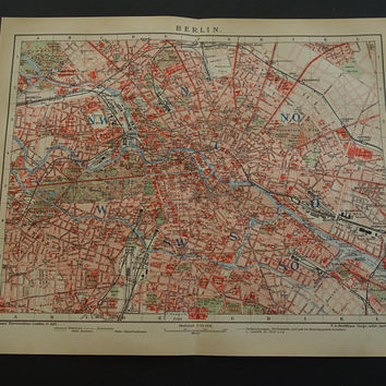 1905 BERLIN old map of Berlin original antique city plan about Berlin Germany vintage detailed maps poster alte karte von 25x30c 10x12""