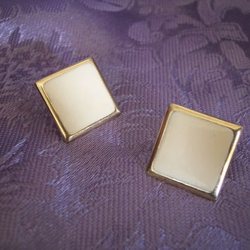 Vintage Jewelry Napier Enamel Square Cream Colored and Goldtone Pierced  Earrings
