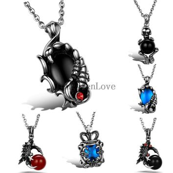 Punk Biker Stainless Steel Vintage Mens Scorpion Pendant Dragon Claw Skull Crown Gothic Necklace For Men Jewelry collar hombre