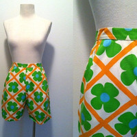 1960s High Waist Shorts / Floral Printed Shorts / 60s Groovy Shorts / Floral Shorts