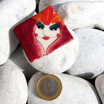 Red + Orange Hot  Woman - Ceramic Brooch Pin Jewelry Brooch Modern Ceramic Jewelry Unusual Brooch