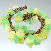 Chunky Lemon Lime Plastic Charm Necklace / Citrus Molded Lucite Dangle / Vintage 1960s Jewelry