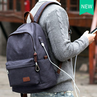 Muzee Canvas Backpack with USB Port