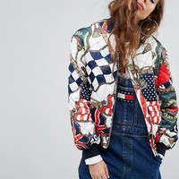 Tommy Jeans 90s Capsule Bomber with Flag Print at asos.com