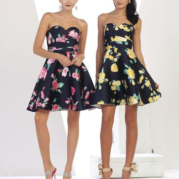 Prom Short Dress Floral Print Homecoming Cocktail Party