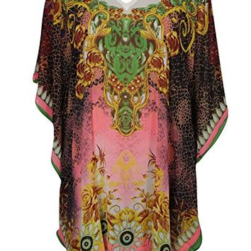 Mogul Interior Women's Kaftan Elisa Short Pink Beach Bikini Cover up Caftan Swimsuit Dress