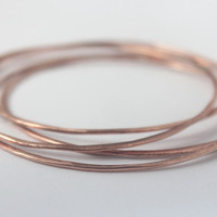 Copper Bangles, SET OF 5, Handmade hammered reclaimed copper wire, Organic stacking Bangles, Statement jewelry