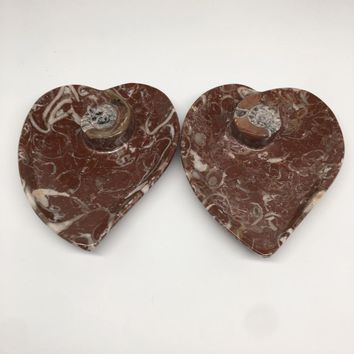 """2pcs,6.25""""x5.2"""" Ammonite Fossils Heart Plates Dishes Red Marble @Morocco,MF1356"""