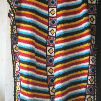 ON SALE - 10% OFF Navajo afghan...Granny Square Crochet Blanket.....Colorful Stripes  Patchwork Lap Afghan...