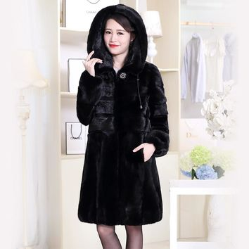 Nerazzurri Real Mink Fur Coat China Genuine Hooded Winter Natural Mink Fur Jacket Long Sleeve Black Plus Size Overcoat 6xl 7xl