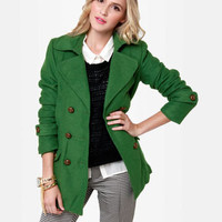 Cute Green Coat - Wool Coat