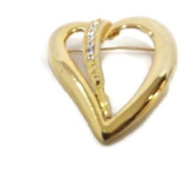 womens Stylish GOLD HEART W/ Rhinestones Brooch Pin Nice 1