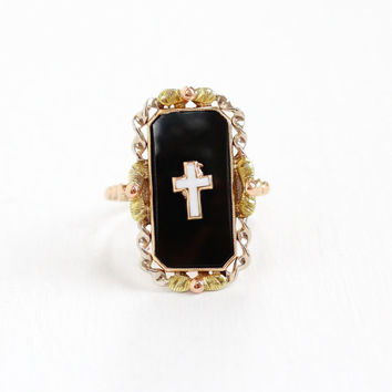 Vintage Art Deco 10k Rose, Yellow, & Gold Green Onyx Cross Ring - 1930s Size 7 Black Rectangular Stone White Enamel Cross BDA Fine Jewelry