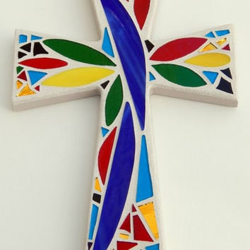 "Mosaic Wall Cross, Abstract Floral Design, Bold + Bright Colors with Light Sand Base + Grout, Handmade Stained Glass Mosaic 12"" x 8"""
