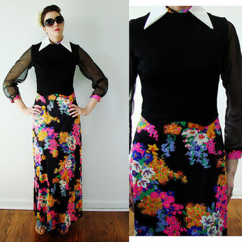 Vintage 1960s NEON MAXI Dress Funky Mod Sheer Sleeve Floral SMALL