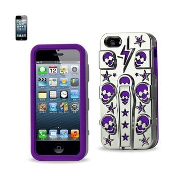 New Hybrid Skulls Case With Kickstand In Purple For iPhone SE/ 5S/ 5