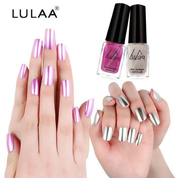 LULAA 5 Colors Metallic Nail Polish Long Lasting Matte Effect Makeup Sliver Nail Polish Mirror Gel Nail Beauty