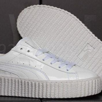 ICIKYE NEW PUMA FENTY RIHANNA CREEPERS GLO WHITE LEATHER WOMEN'S SHOES ALL SIZES