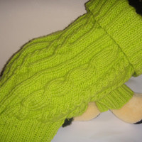 Dog clothes, French bulldog size sweater in chunky apple green and cable stitch. The neck is very wide with a big collar.