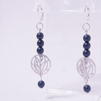 Dark Blue Satin Czech Glass w Silver Cutout Drop Earrings - Leverback Earrings, Druk beads