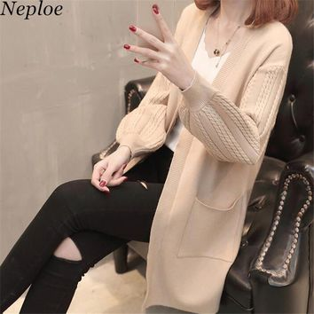 Neploe 2018 Autumn Winter Long Chaqueta Mujer V-neck Long Sleeve Solid Women Sweater Loose Fashion Knitted Korean Cardigan 67945