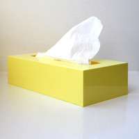 Retro Mod Yellow Plastic Tissue Box Holder / Cover 60's