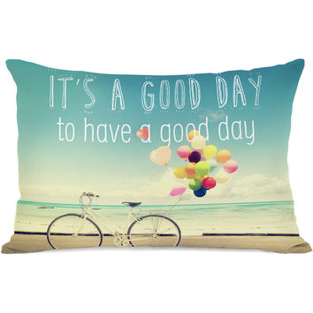 """""""Good Day To Have A Good Day"""" Indoor Throw Pillow by OneBellaCasa, 14""""x20"""""""