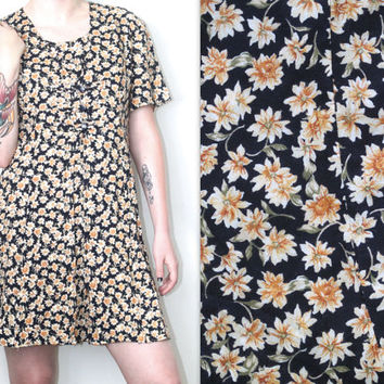 Vintage 90s Hipster Grunge // Daisy Ditsy Floral Babydoll Mini Dress // Short Sleeve // Navy Blue Yellow // XS Extra Small / Small / Medium