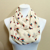 Bird pattern Chiffon Infinity scarf, Circle scarf, Loop scarf, scarves, shawls, spring - fall - winter - summer fashion