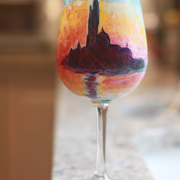 Claude Monet Inspired Hand Painted Wine Glass Featuring San Giorgio Maggiore At Dusk
