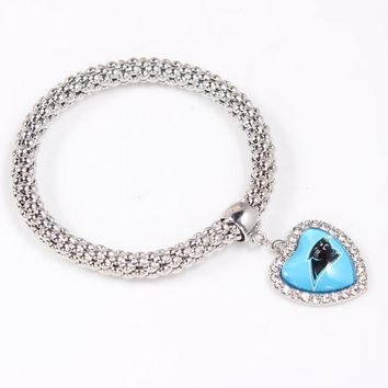 Zinc Alloy Popcorn Chain Football Sports Team Logo Charm Bracelet Carolina Panthers Bracelets 8pcs/lot