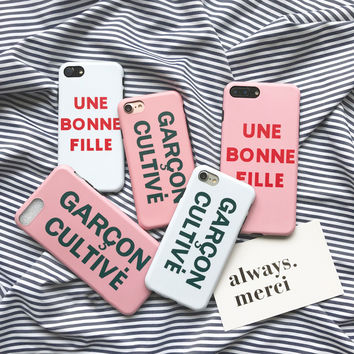 Une Bonne Fille Garcon Cultive Fashion Case for iPhone 7 7plus 6 6s 6splus 6plus Gril Boy Couple Case PINK and WHITE -0317