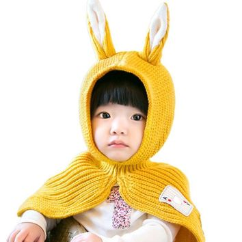 Kids Bunny Pattern Cape with Hood